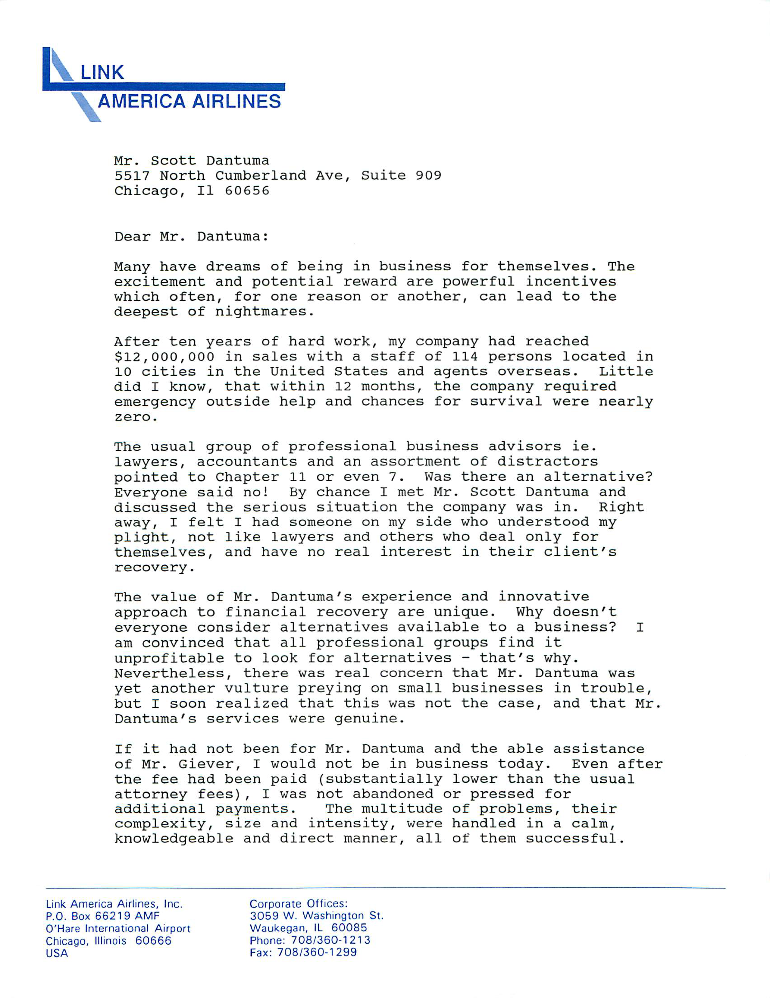Scan of Link America Airlines testimonial letter